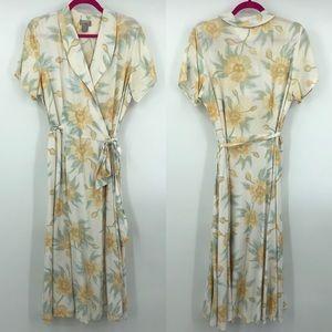 Vintage Esprit Floral Tie Waist Wrap Dress 13/14